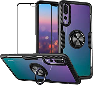 Case for Huawei P20 Pro with Tempered Glass,Slim Silicone Soft TPU Bumper Hard Transparent Back Cover Shell with Metal Rin...
