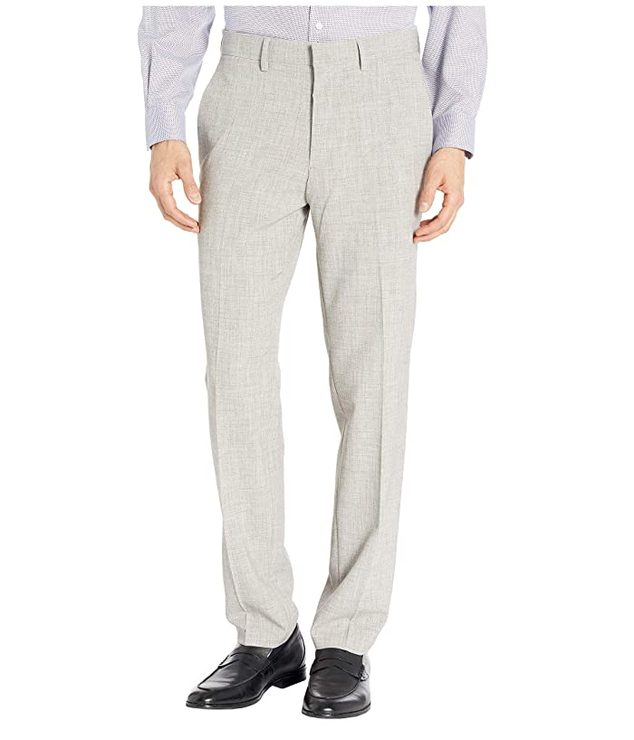 Kenneth Cole Reaction  Stretch Flannel Slim Fit Flat Front Dress Pants (Heather Grey) Mens Dress Pants