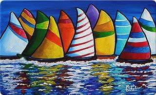 Toland Home Garden Skipper's Traffic 18 x 30 Inch Decorative Sailboat Floor Mat Nautical Doormat