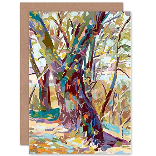 Wee Blue Coo ABSTRACT TREE FOREST IMPRESSIONIST BLANK GREETINGS BIRTHDAY CARD ART
