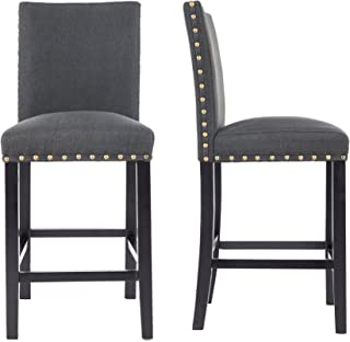 GOTMINSI Nailhead 24 Inches Counter Height Stools Upholstered Bar Stools with Solid Wood Legs, Set of 2 (Charcoal)