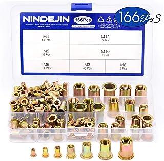Henzxi 168 Pack #8-32#10-24 5//32-32 1//4-20 5//16-18 3//8-16 1//2-13 Carbon Steel UNC Rivet Nuts Assortment Kit Flat Head Threaded Insert Nutserts Assort Kit