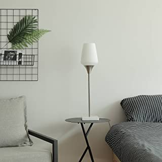 CO-Z Brushed Nickel LED Table Lamp, Modern Torchiere Lamp for Bedroom Living Room Bedside Corner, Stable Mid-Century Elegant Bright Uplight Lamp with Marble Base and Frosted Glass Shade