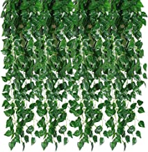 Ameolela 78 Ft 12 Strands Artificial Ivy Garland Leaf Vines Plants Greenery, Hanging Fake Plants, for Wedding Backdrop Arch Wall Jungle Party Table Office Decor (Scindapsus)