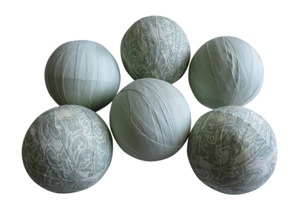 From The Attic Crafts Rag Balls Mint Green Heirloom Floral Farmhouse Style Bowl Fillers 2.5