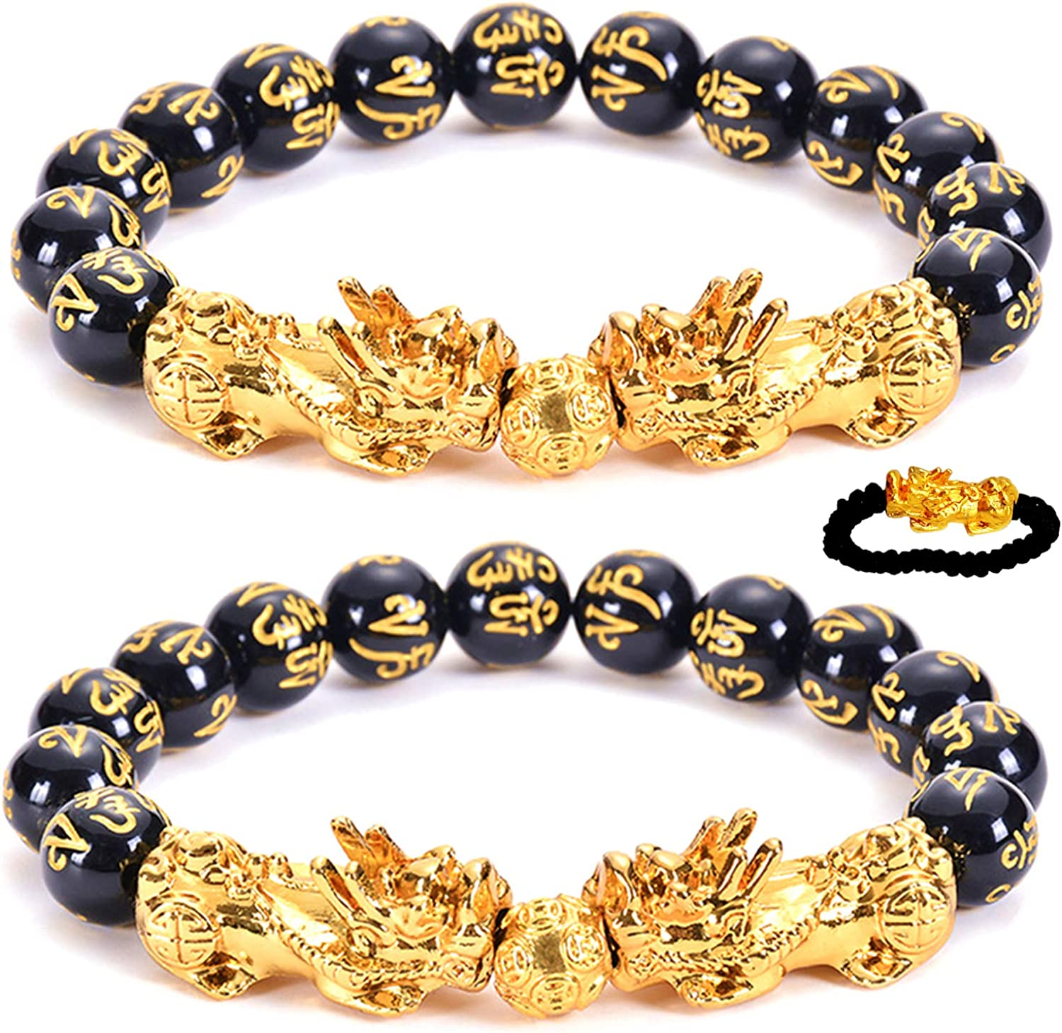 Feng Shui Amulet Bracelet Prosperity 12mm Mantra Bead Bracelet with Double Gold Plated Pi Xiu/Pi Yao Attract Lucky and Wealthy Bangle…