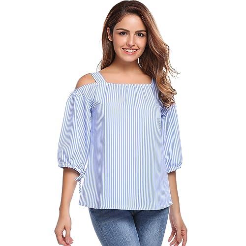 f928de4b8edd4 Zeagoo Women s Casual Cold Shoulder Stripe Tops 3 4 Sleeve T Shirt Loose  Fit Tie Cuff