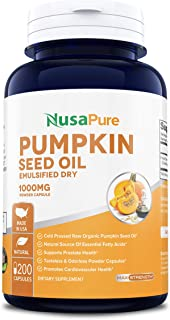 Pumpkin Seed Oil 1000mg 200 Powder Capsules (Non-GMO, Gluten Free & Emulsified Dry) Cold-Pressed - Fatty Acids - Great for Hair Growth, Prostate Health