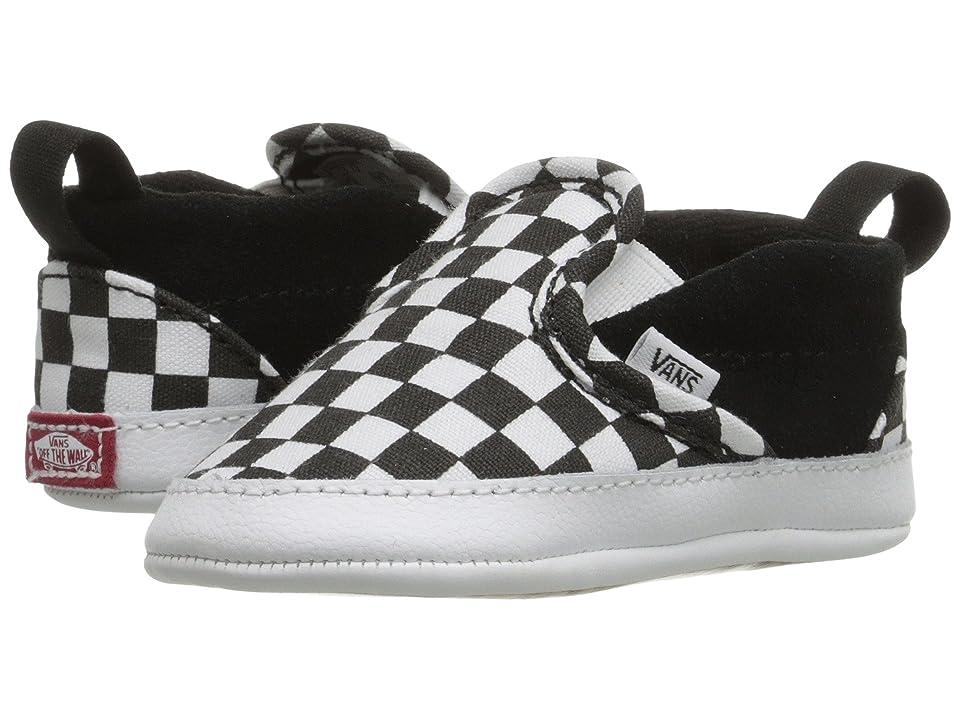 Vans Kids Slip-On V Crib (Infant/Toddler) ((Checker) Black/True White) Kids Shoes