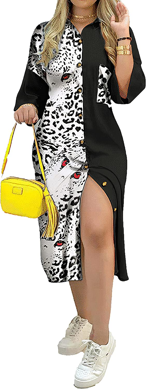 Akivide Button Down Dress for Women Summer Casual Office Color Block Shirt Dress Midi Dresses