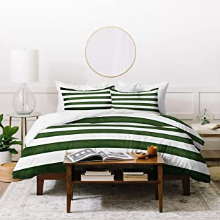 Deny Designs Monika Strigel Farmhouse Shabby Stripes Green Duvet Set with Two Pillow Shams, King