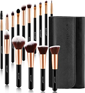 Refand Makeup Brushes, 15pcs Face Brushes Cosmetics Kabuki Foundation Powder Concealers Blending Eye Shadows Professional Make Brushes Kit with Pu Leather Storage Bag Rose Gold Black