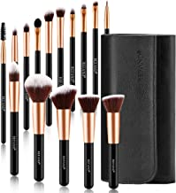 Refand Makeup Brushes, 15pcs Face Brushes Cosmetics Kabuki Foundation Powder Concealers Blending Eye Shadows Professional Make Brushes Kit with Pu Leather Storage Bag Rose Gold Black