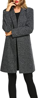 Winter Blended Coat Women Casual Long Pea Coat Trench Button Cardigan Pockets