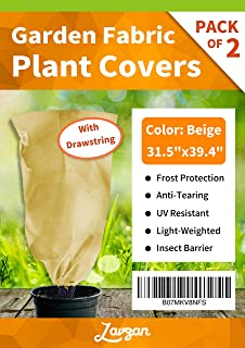 """LAVZAN 1.76oz/sq.yd,31.5"""" W(19.6"""" Dia) x 39.4"""" H,2Pcs Drawstring Plant Cover Bags Warm Worth Frost Blanket Frost Protection Bags for Shrubs Dwarf Trees Flowers from Bad Weather or Pests"""