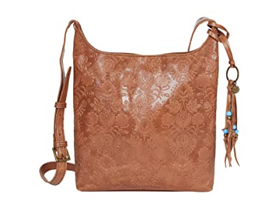 The Sak Huntley Leather Crossbody (Tobacco Floral Embossed) Handbags
