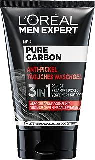 """L""""Oréal Men Expert Waschgel für das Gesicht, Anti-Pickel Gesichtsreinigung für Männer, Mit vulkanischem Mineral und Vitamin B3, Pure Carbon, 1 x 100 ml"""