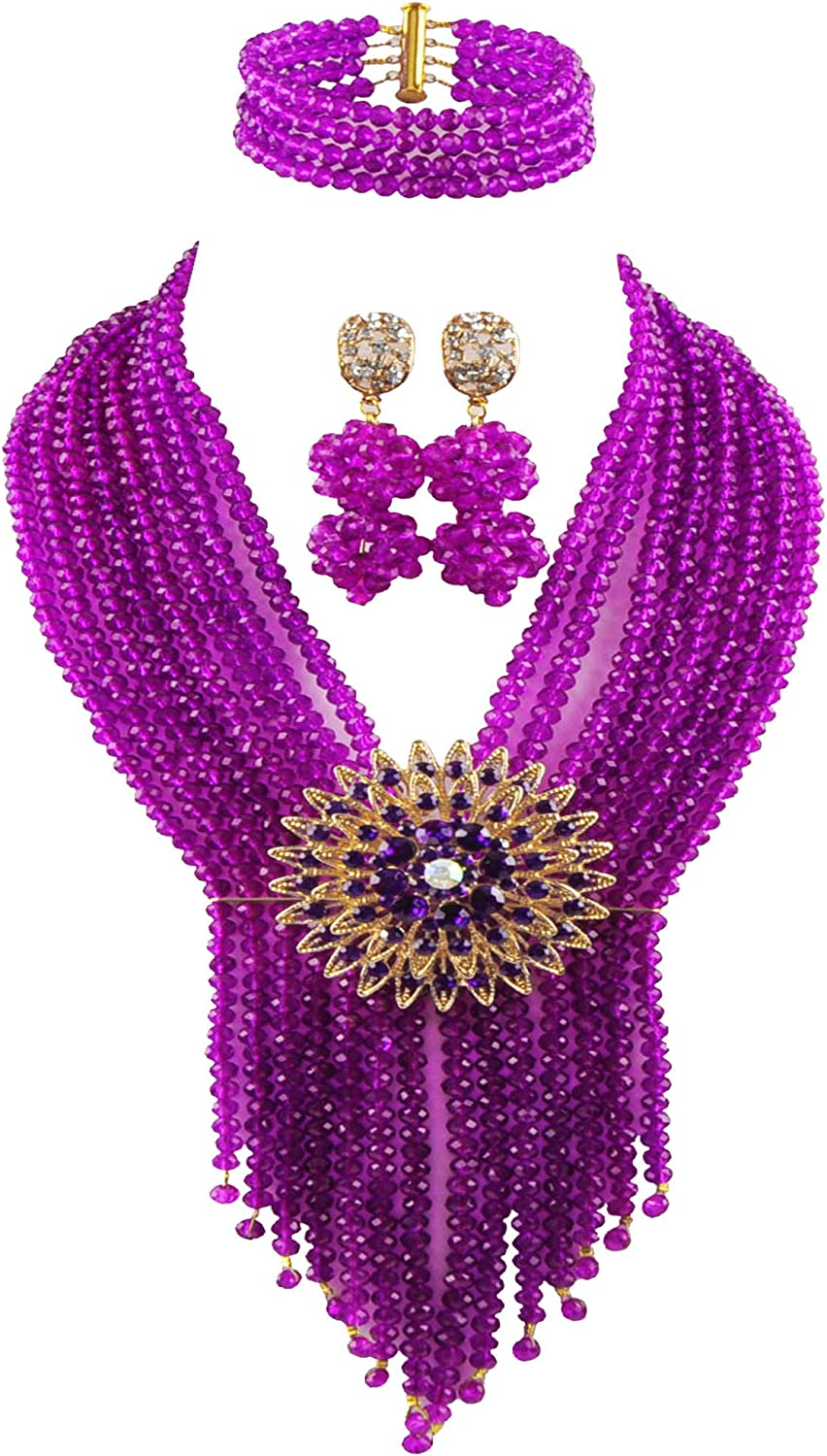 aczuv 8 Selling rankings online shopping Rows Costume African Beads Nigerian Bridal Necklace Wedd
