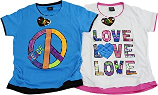 Just Love Ruched Side Graphic T-Shirts for Girls (Pack of 2)
