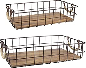 Stonebriar Wire and Wood Baskets, Brown, 16.73 x 10.24 x 4.02 Inches
