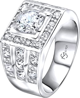 Men's Sterling Silver .925 Ring with White Round Cubic Zirconia Center Stone Surrounded by White Cubic Zirconia (CZ) Stones