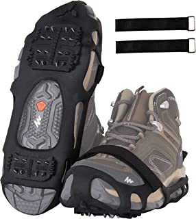 QA/_ 10-Stud Snow Ice Shoe Cover Gripper Spike Grip Climbing Anti-Slip Crampon