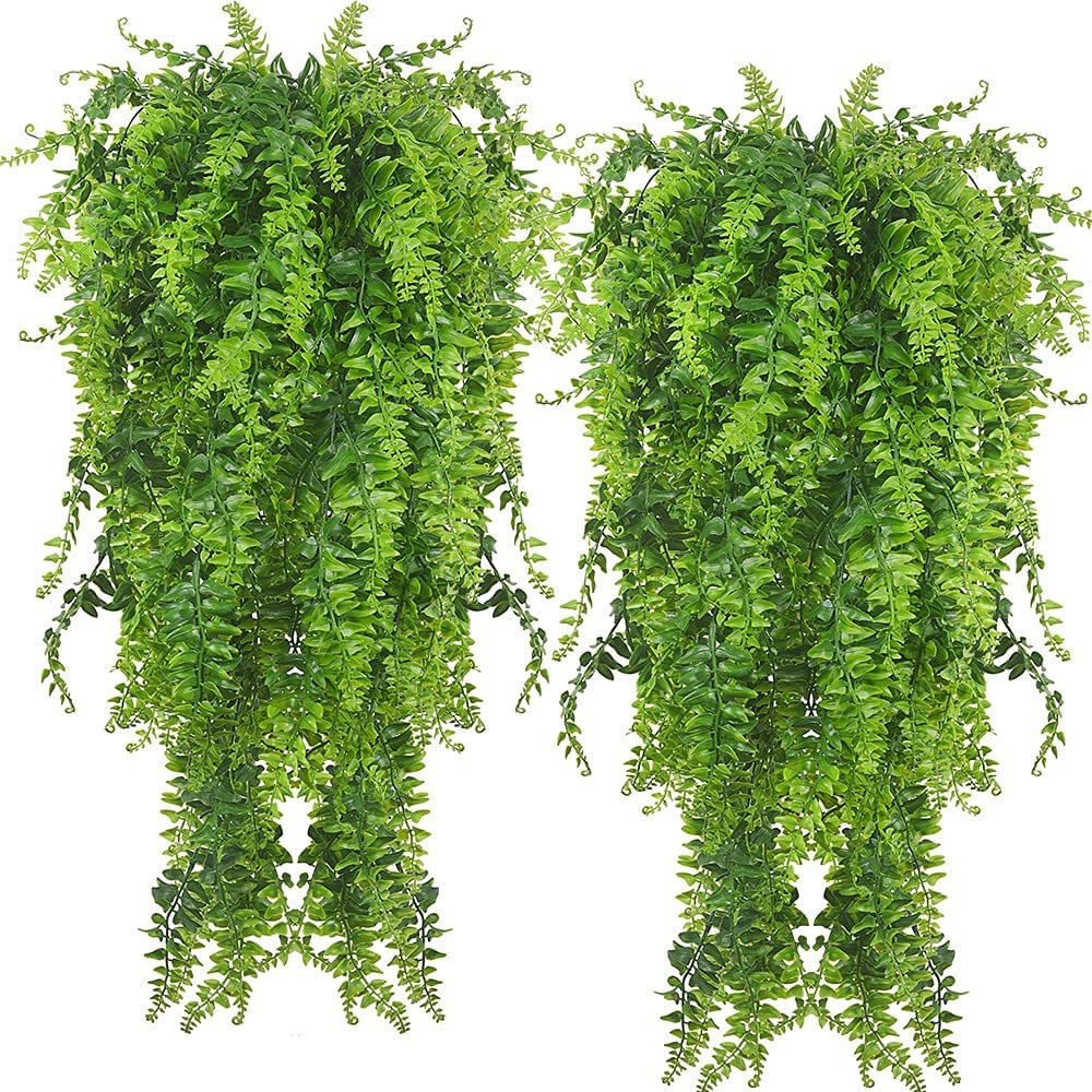 2pack Artificial Fake National products Super sale period limited Hanging Ferns Vine Plants Boston Ivy