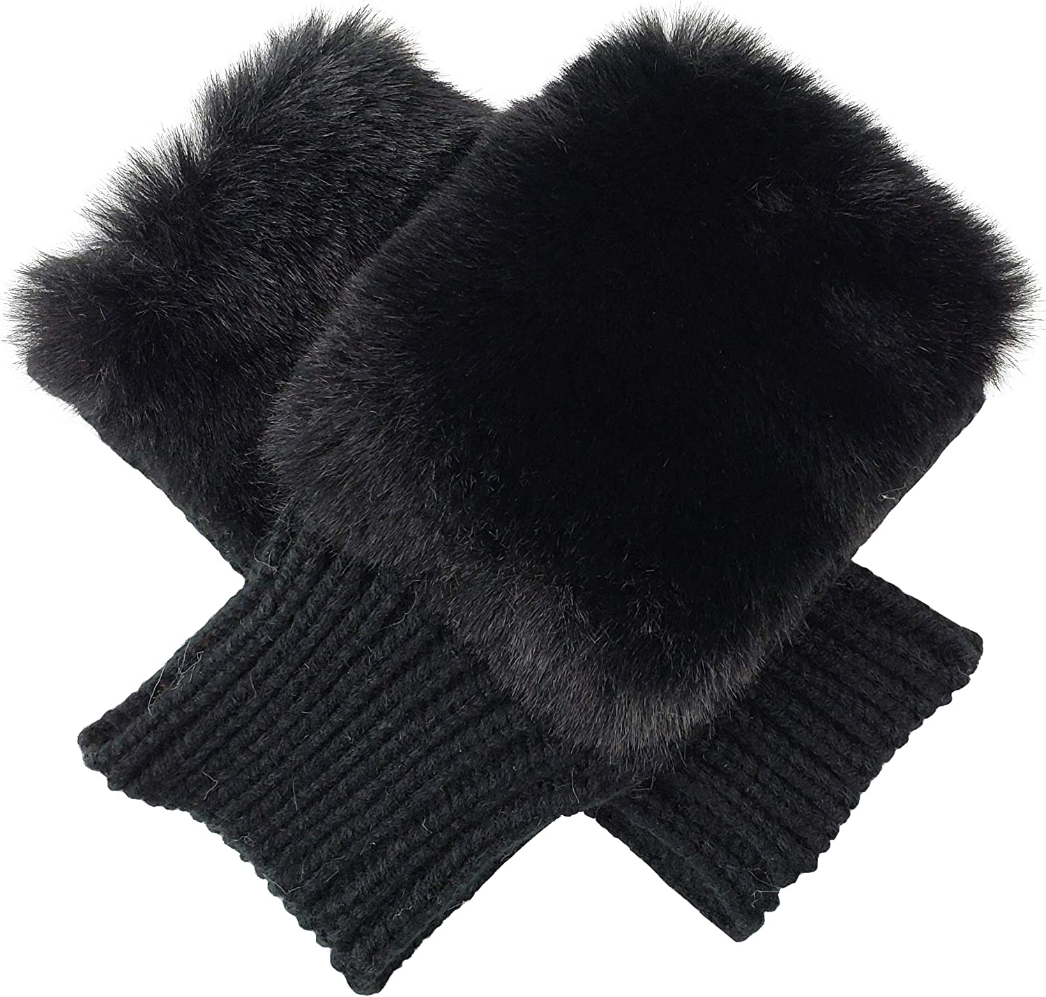 Bruceriver Womens Winter Warm Knitted Fingerless unlined Gloves with faux fur