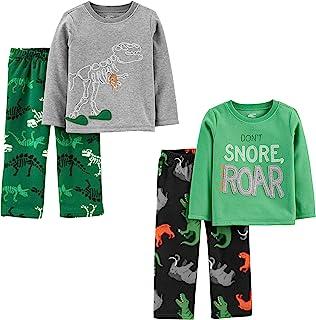 Toddler Boys' 4-Piece Loose Fit Polyester Pajama Set