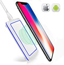 QI Wireless Charging Station- Wireless Charger Compatible with iPhone 8 8 Plus X-Wireless Charger Android-Wireless Charger Samsung S8 Plus S7 S6 Edge Note-QI Wireless Charger Pad-White
