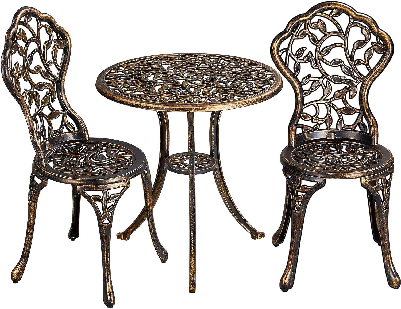 Topeakmart 3 Pcs Bistro Table Set Alumini Outdoor Max 77% OFF Furniture Popular popular Cast