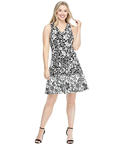 Maggy London Cotton Floral Fit-and-Flare Dress (Black/Soft White) Women