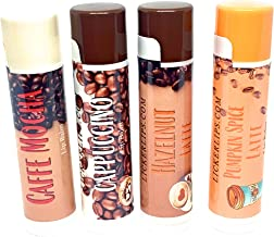 product image for Coffee House Lip Balm Variety Pack by Lick 'er Lips | Cappuccino, Hazelnut Latte, Pumpkin Spice Latte, Caffe Mocha | Moisturizing Natural Lip Care Multipack | Gluten Free Beeswax (4 Tubes)