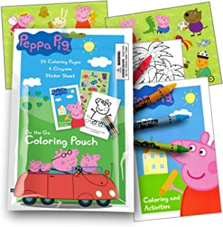 Peppa Pig On The Go Coloring Fun Pack with Stickers, Crayons and Activity Coloring Book in a Resealable Pouch (Single 1 Pack Travel Size)