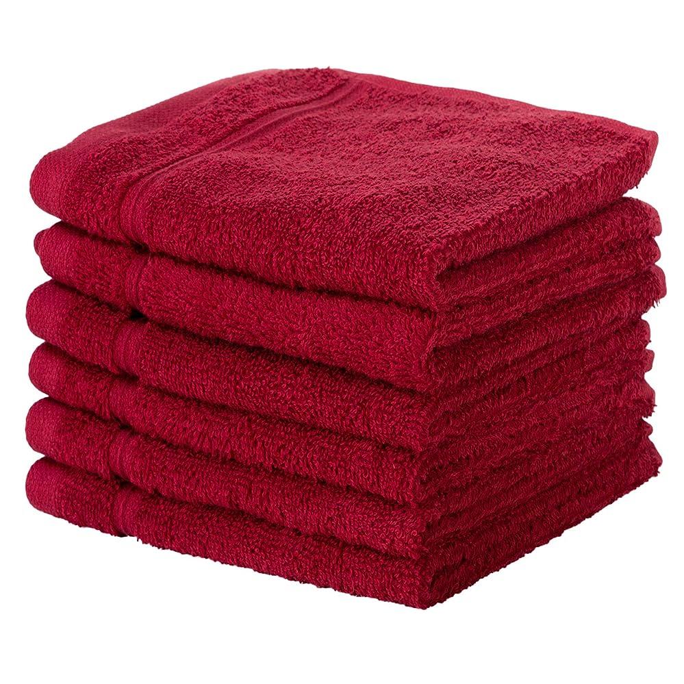 千寓話仲間(Washcloth - Set of 6, Burgundy) - 6 PACK Washcloth Towels Set Premium Quality Luxury Turkish Cotton Absorbent AND Super Soft - BURGUNDY