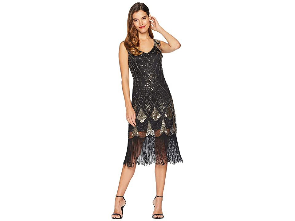 Unique Vintage Sequin Lina Fringe Flapper Dress (Black/Gold) Women