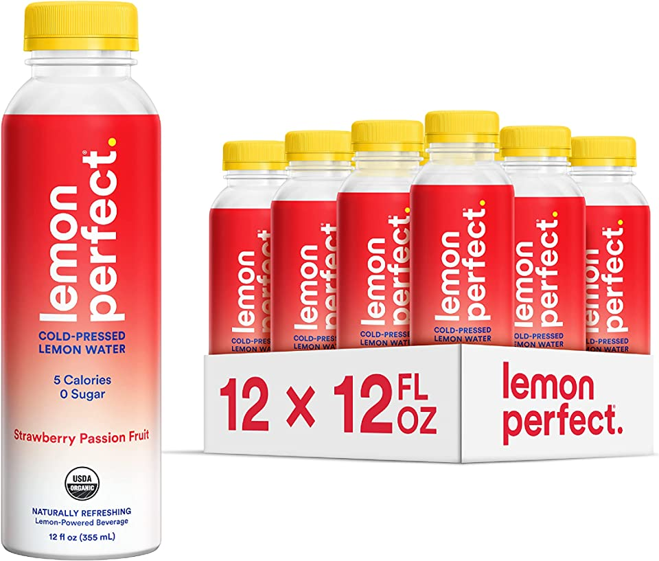 Lemon Perfect, Organic Cold-Pressed Lemon Water, Squeezed from Real Fruit, Flavored Water, Sugar-Free, Keto Certified, No Artificial Ingredients, Strawberry Passion Fruit (12-Pack)