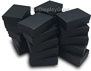 The Display Guys Pack of 25 Cotton Filled Cardboard Paper Black Jewelry Box Gift Case (3 1/4x2 1/4x1 inches #32)