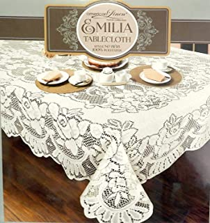 American Collection White Lace Emilia Tablecloth Machine Washable Ideal For Formal Dinner Parties (60