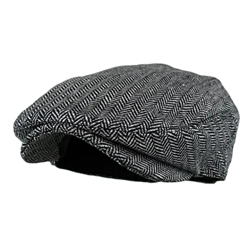 3bdc9bf0 Wonderful Fashion Men's Classic Herringbone Tweed Wool Blend Newsboy Ivy Hat  (Large/X-