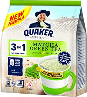 Quaker 3 In 1 Oat Cereal Drink, Matcha, 336 G