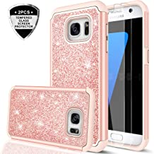 Galaxy S7 Case with Tempered Glass Screen Protector [2 Pack], LeYi Glitter Bling Girls Women [PC Silicone Leather] Dual Layer Heavy Duty Protective Phone Case for Samsung Galaxy S7 (2016) TP Rose Gold