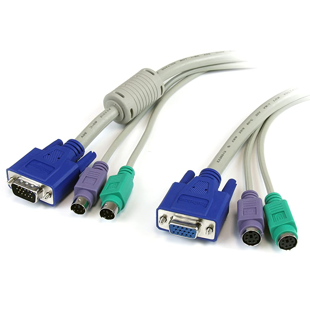 StarTech 6-Feet 3-In-One PS/2 KVM Extension Cable (3N1PS2EXT6)