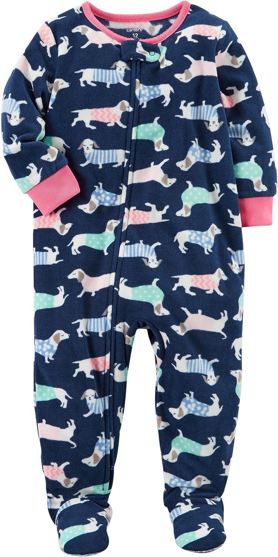 Carters Girls 12M-12 Dog Fleece Pajamas Blue 2T