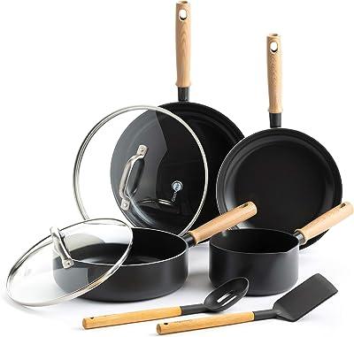 GreenPan Healthy Ceramic Nonstick Hudson Cookware Pots and Pans Set, 8-Piece, Brown/Black