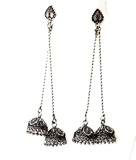 DecorTales Afghani Bohemian Traditional Kashmiri Style Oxidized Indian Jhumka Jhumki Chandbali Bollywood Earrings