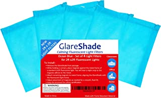 GlareShade Square Light Filter Diffuser Covers for 2 x 2 ft. Fluorescent Lights (4 Pack, Blue Color) Eliminate Harsh Glare that Causes Eyestrain and Headaches at Work and School