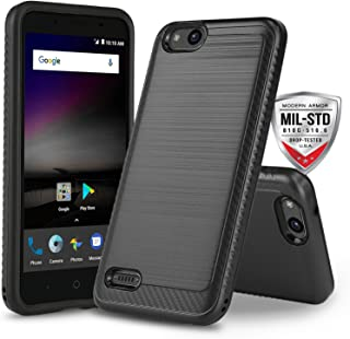 Phone Case for [ZTE ZFIVE G LTE (Z557BL) / ZTE ZFIVE C LTE (Z558VL)], [Modern Series][Black] Shockproof Cover [Impact Resistant][Defender] (Tracfone, Simple Mobile, Straight Talk, Total Wireless)