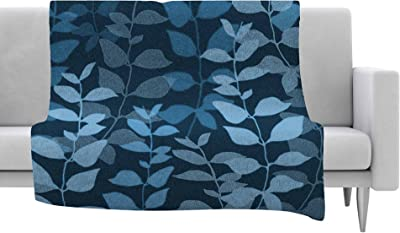 80 X 60 Kess InHouse Anchobee Aisha Green Pattern Fleece Throw Blanket 80 by 60-Inch
