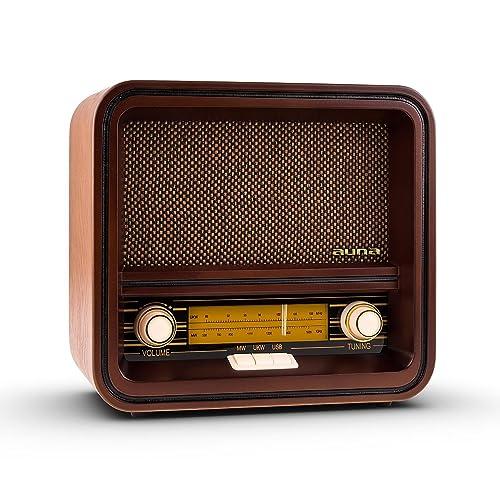 AUNA Belle Epoque 1901 - Radio nostálgica , Radio Retro , FM/Am , Banda de Frecuencias iluminada , USB con MP3 , 1,5 W , Cable de Antena , Carcasa de Madera , Revestimiento en Altavoces , Marrón
